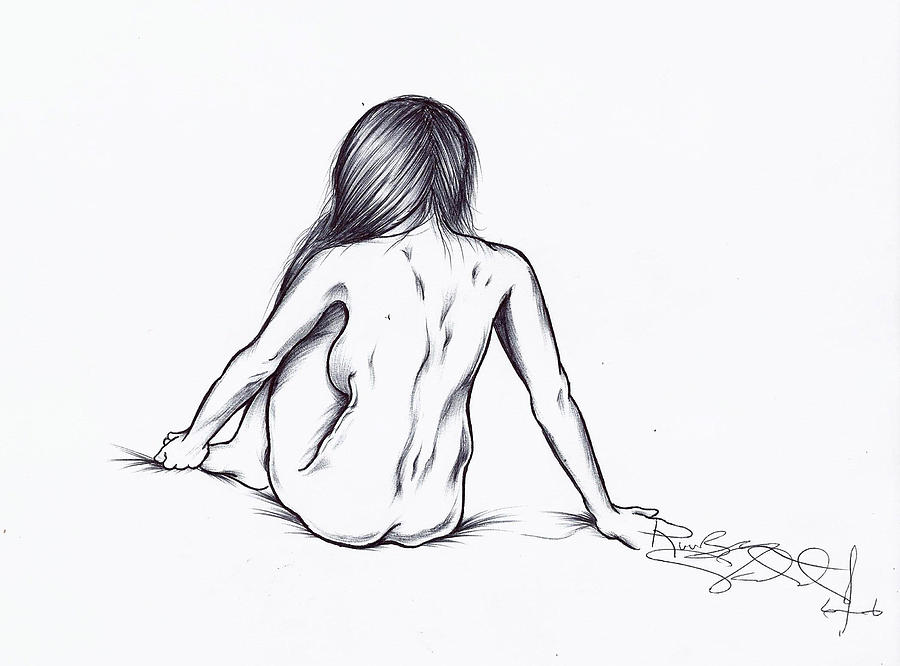 900x666 Women On Bed Drawing By Ruuben Valdes