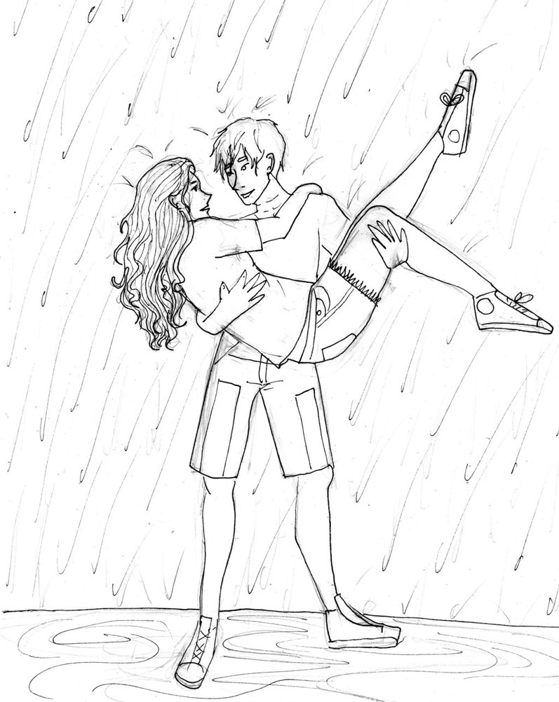 797x1002 Dancing Couple Rain Drawing Girl Pics Dancing
