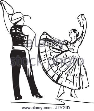 300x357 Illustration Of Couple Dancing Marinera. Peruvian Dancing Stock