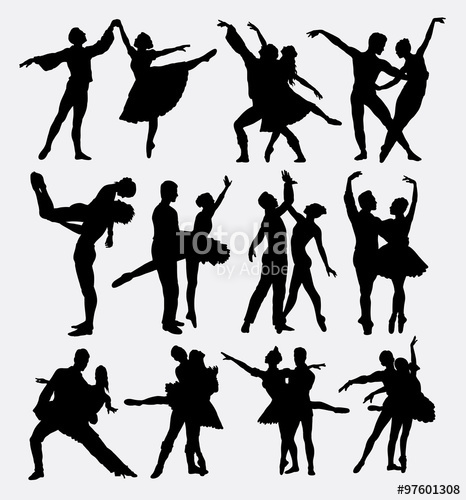 466x500 Ballet Couple Dance Posing Silhouettes. Good Use For Symbol, Logo