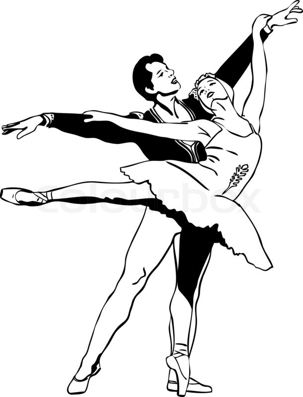 610x800 Sketch Ballet Pair In A Dancing Pose Stock Photo Colourbox
