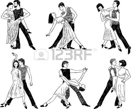 450x375 Sketches Of The Dancing Couples Of The Young People Royalty Free
