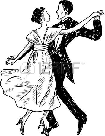 348x450 Vector Drawing Of A Dancing Couple Of The Retro People Royalty