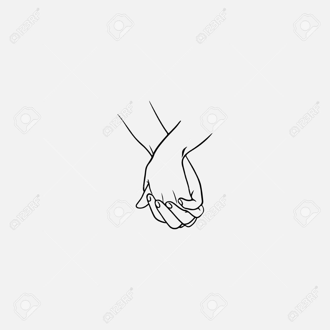 1300x1300 Holding Hands With Interlocked Or Intertwined Fingers Drawn By