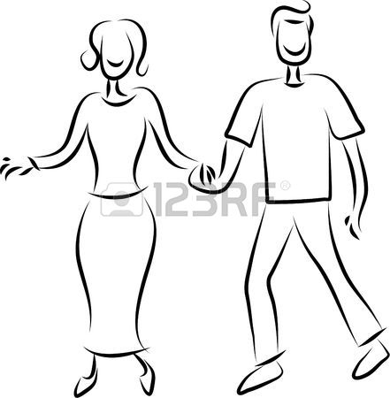 441x450 Line Drawing Of A Happy Couple Holding Hands Stock Photo, Picture
