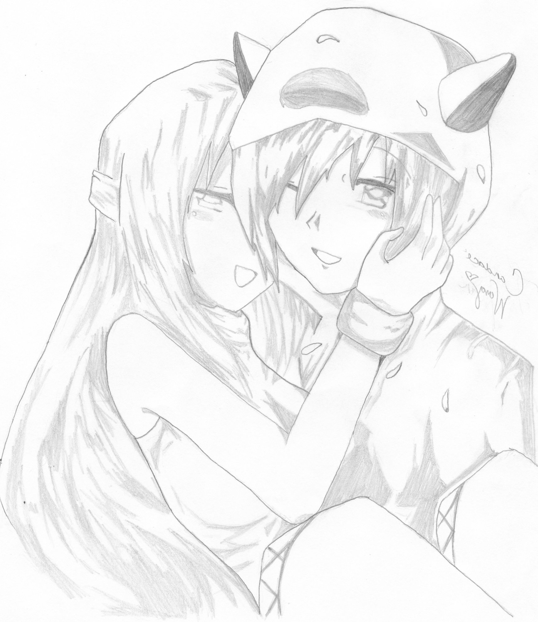 1739x2012 Drawings Of Anime Couples Anime Couples In Love Drawings Kiss