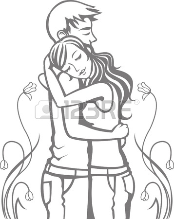 357x450 Abstract Sketch Of Couple Kissing. Vector Illustration Royalty