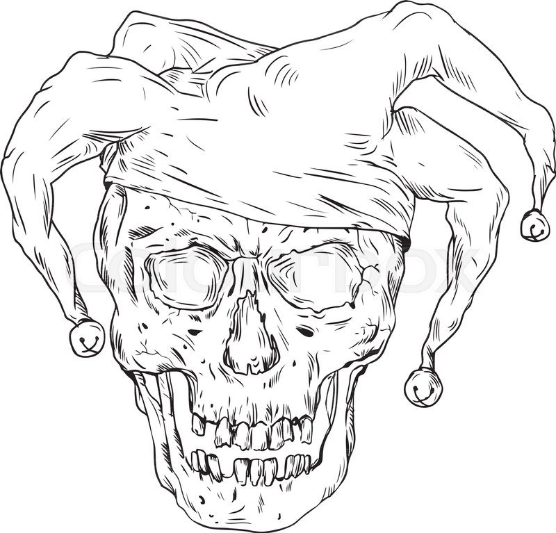 800x767 Drawing Sketch Style Illustration Skull Of A Medieval Jester