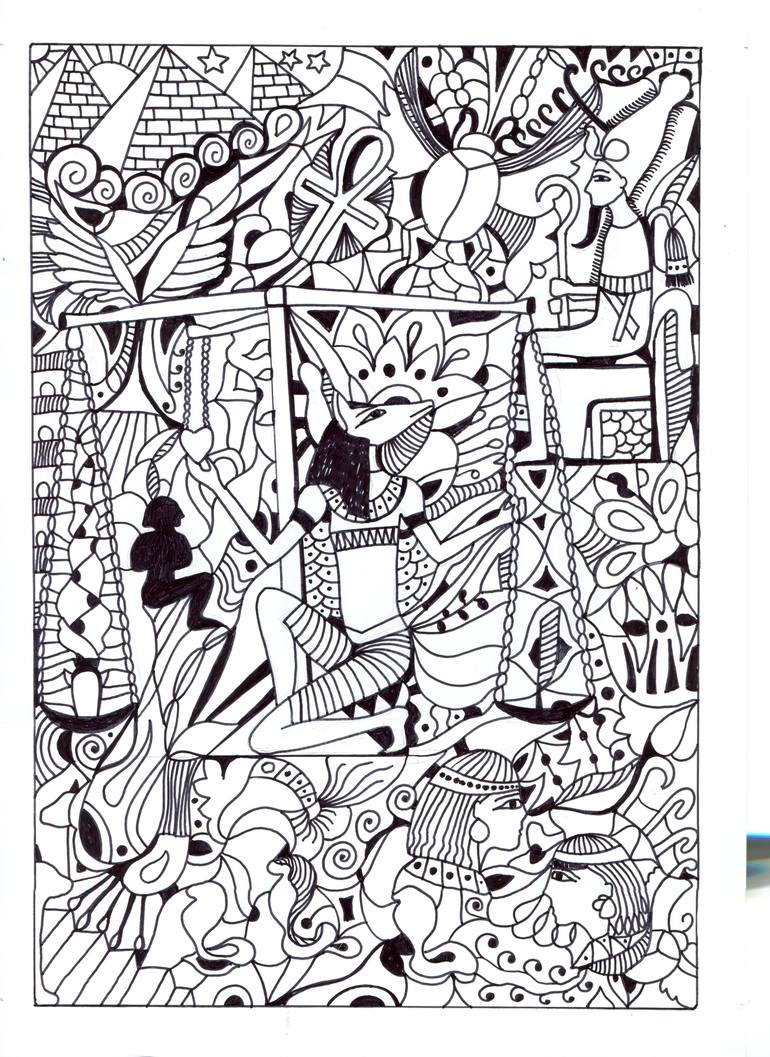 770x1057 Saatchi Art Court Of Osiris Drawing By Anne Sunny