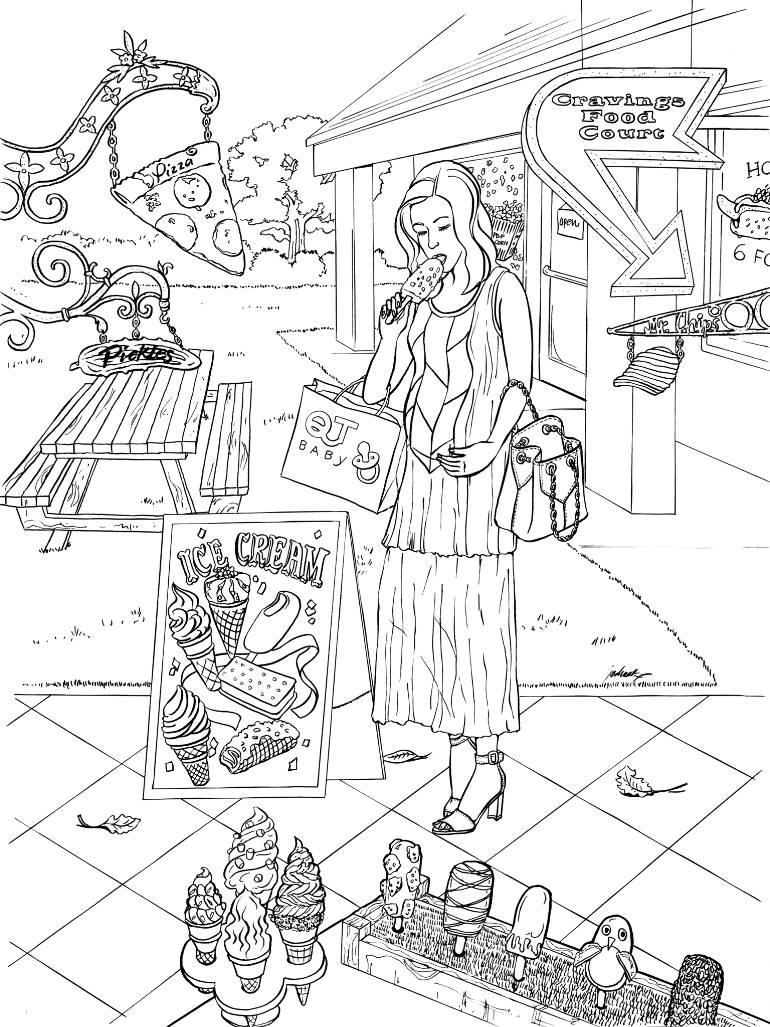 770x1027 Saatchi Art Tte3682 Food Court Drawing By Joshua Wong
