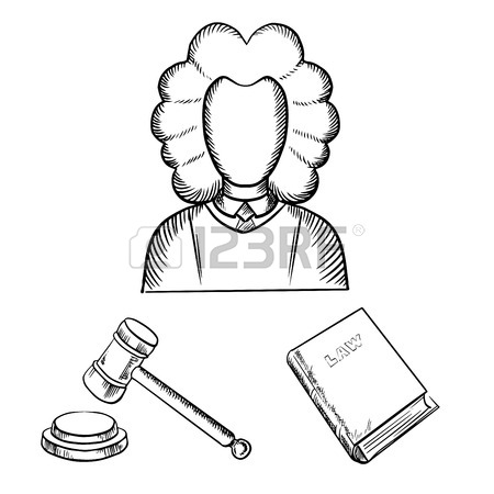 450x450 Judge In Traditional Mantle And Wig, Gavel And Law Book Icons