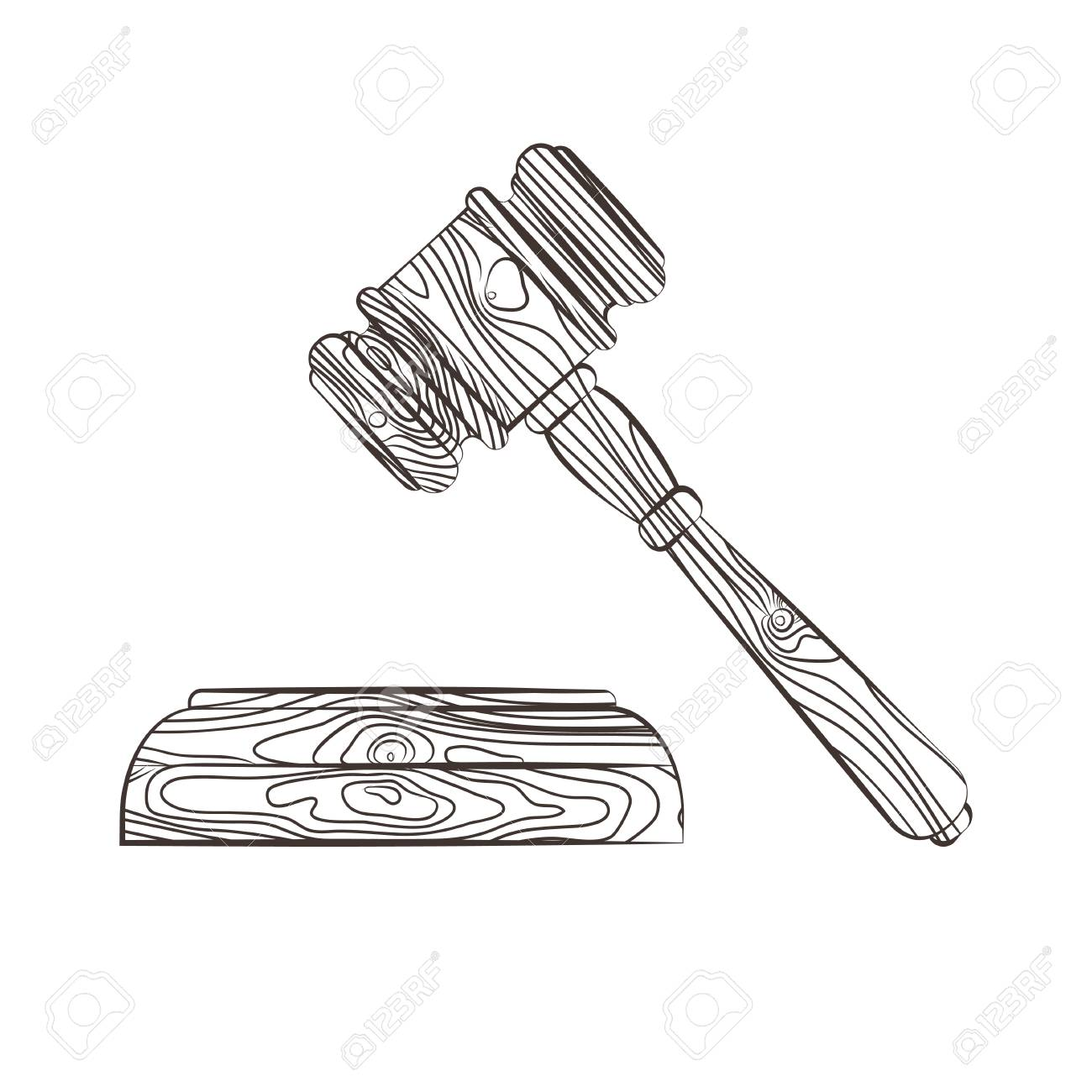 1300x1300 Vector Illustration Of A Wooden Court Hammer Isolated On White
