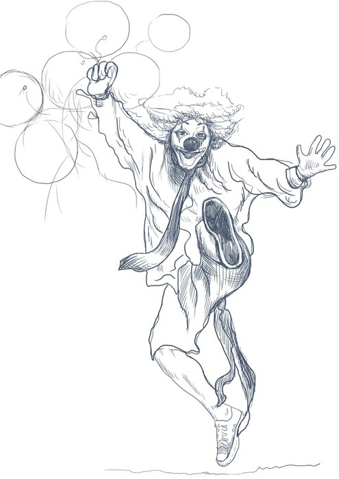 495x700 Happy Clown (Sketch) Wall Mural We Live To Change