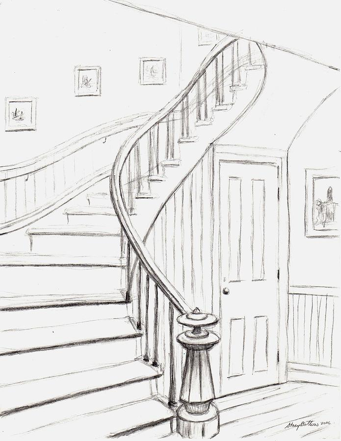 695x900 Old Courthouse Stairs Number One Drawing By Stacy C Bottoms