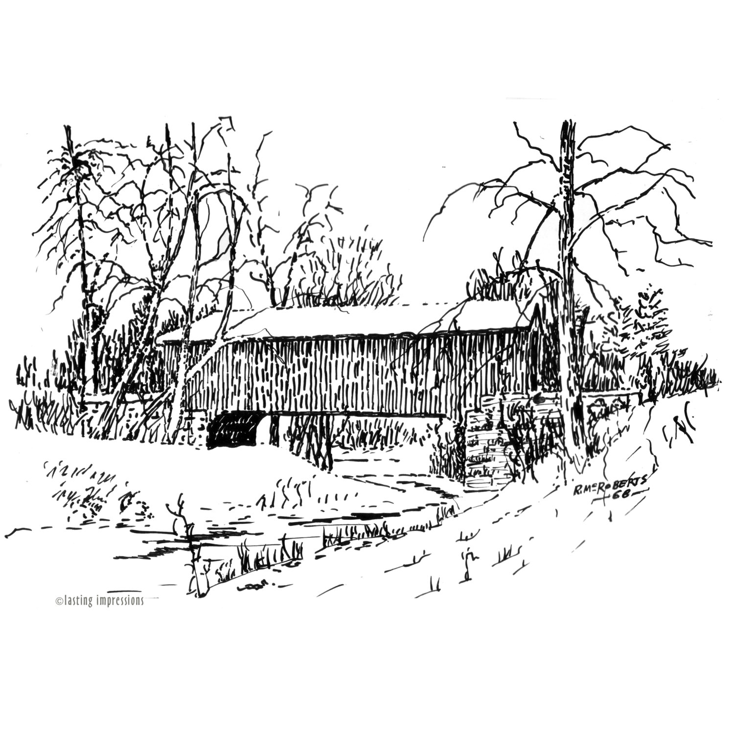 1500x1500 Covered Bridges Note Cards Indiana Covered Bridges Artwork