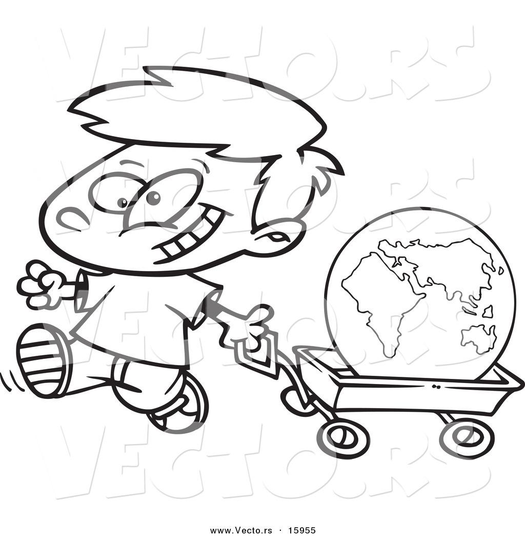 1024x1044 Vector Of A Cartoon Happy Boy Pulling The Globe In A Wagon
