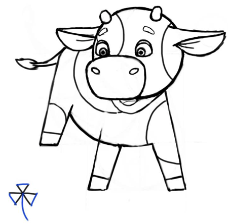 450x444 How To Draw Cute Cartoon Baby Cows With Step By Step Drawing