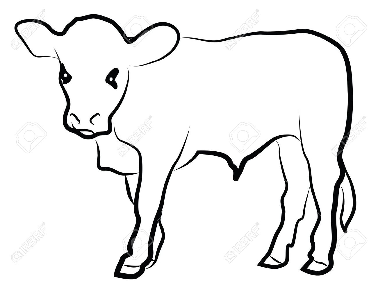 1300x1012 Calf Silhouette Isolated On White Royalty Free Cliparts, Vectors