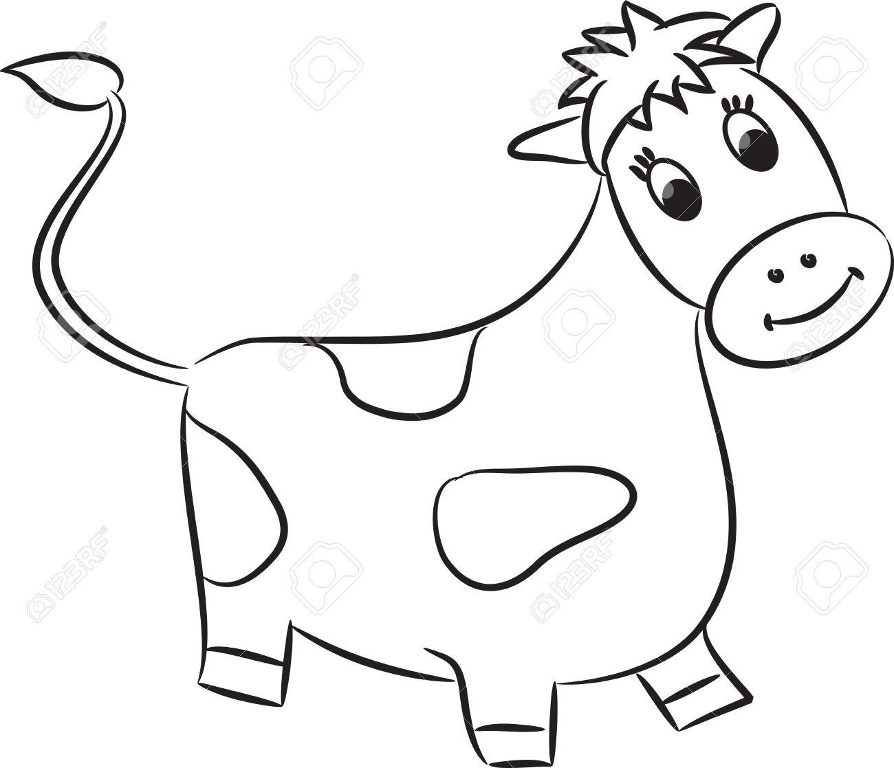 1300x1117 Cartoon Cow Drawing