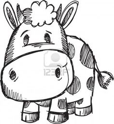 236x256 Cute Doodle Sketch Cow Vector Illustration Stock Photo Cute