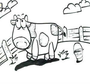 300x280 How To Draw A Cow Easy Step By Step Tutorial Video By Elearnin