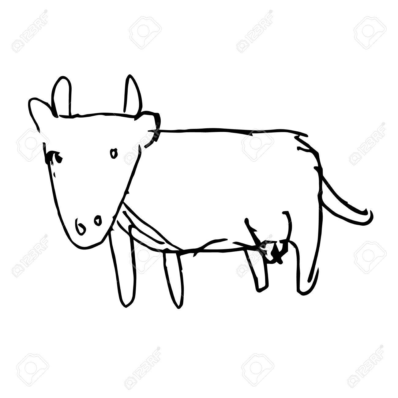 1300x1300 Freehand Sketch Illustration Of Cow Doodle Hand Drawn In Kid
