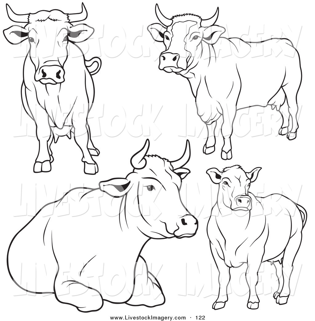 1024x1044 Clip Art Of A Digital Set Of Black And White Cow Outlines By Dero