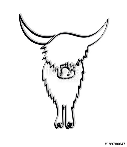 433x500 Minimalistic Continuous One Line Drawing Of A Highland Cow. Vector