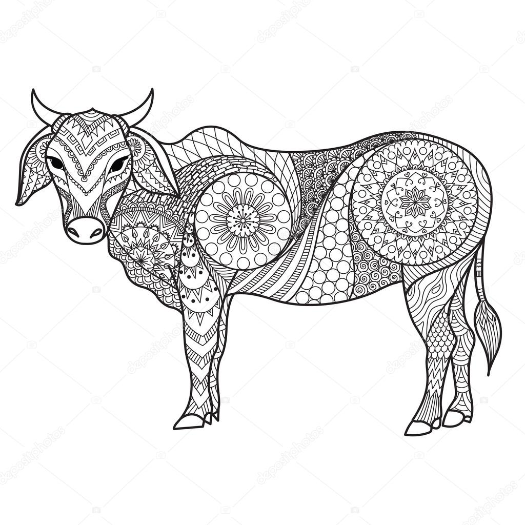 1024x1024 Drawing Zendoodle Of Cow For Coloring Page, Shirt Design Effect