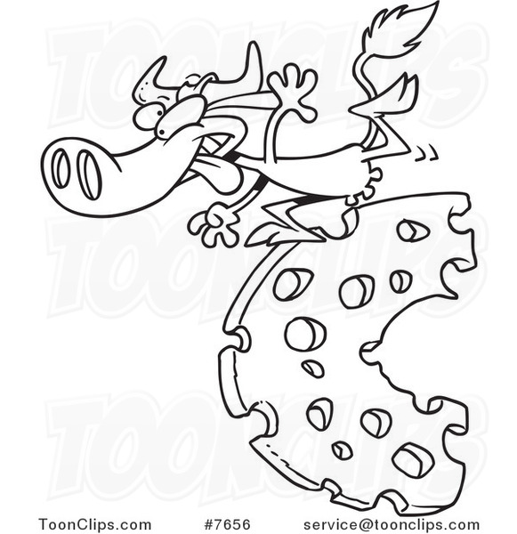 581x600 Cartoon Black And White Line Drawing Of A Cow Running On Cheese