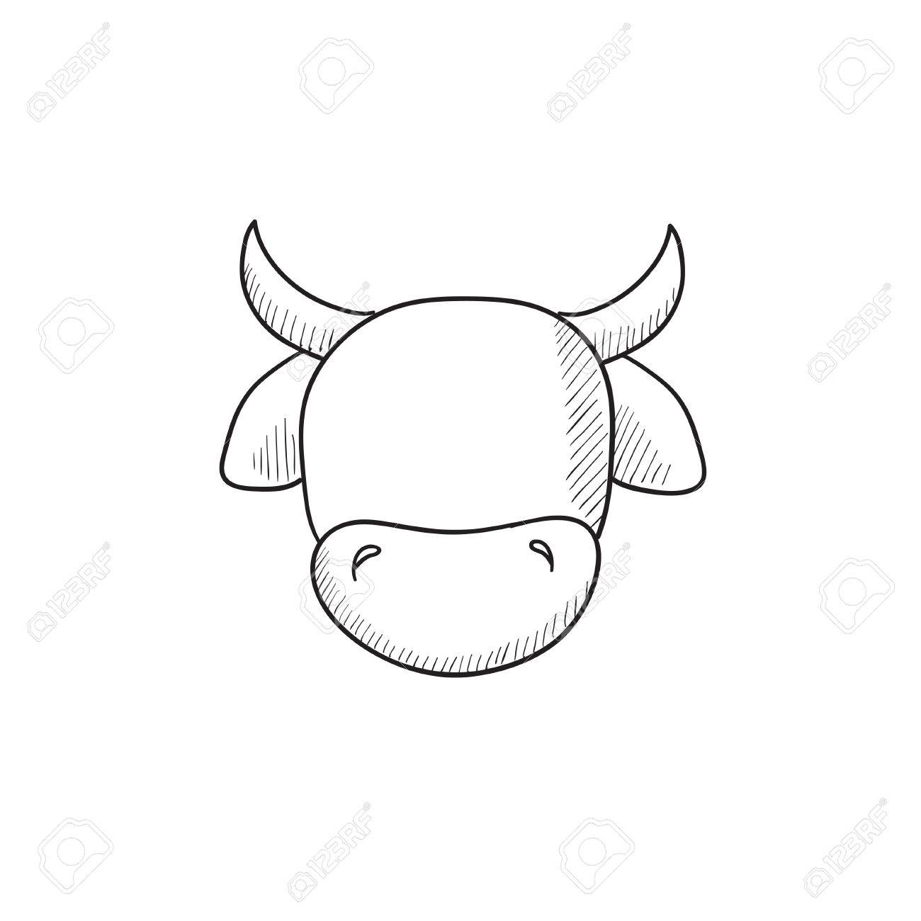 1300x1300 Cow Head Vector Sketch Icon Isolated On Background. Hand Drawn