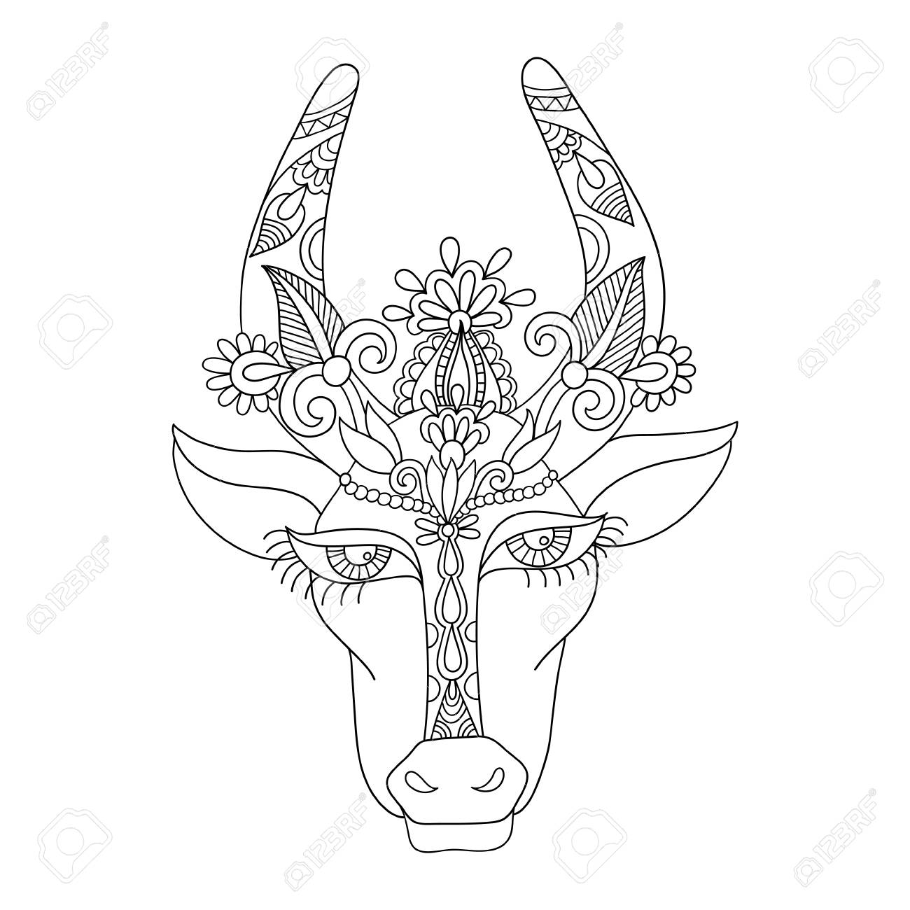 1300x1300 Line Decorative Drawing Of Indian Cow Head, Floral Stylized