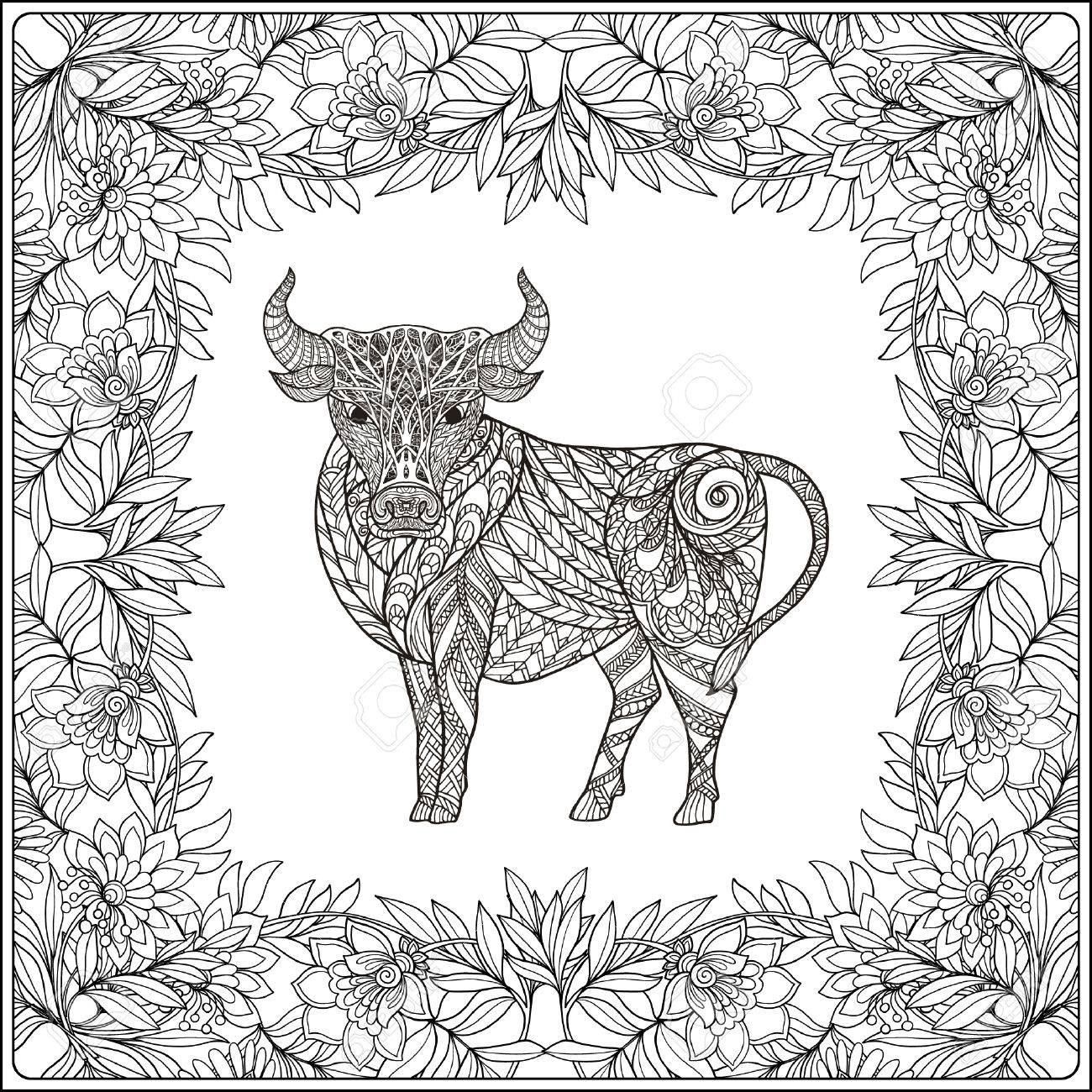 1300x1300 Cow In Floral Frame. Coloring Book For Adult And Older Children
