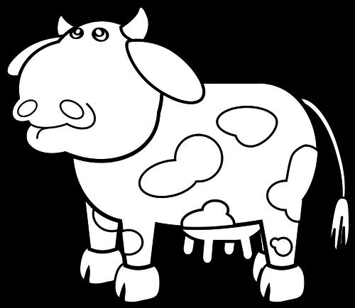 500x434 Cow Cartoon Drawing Vector Image Public Domain Vectors