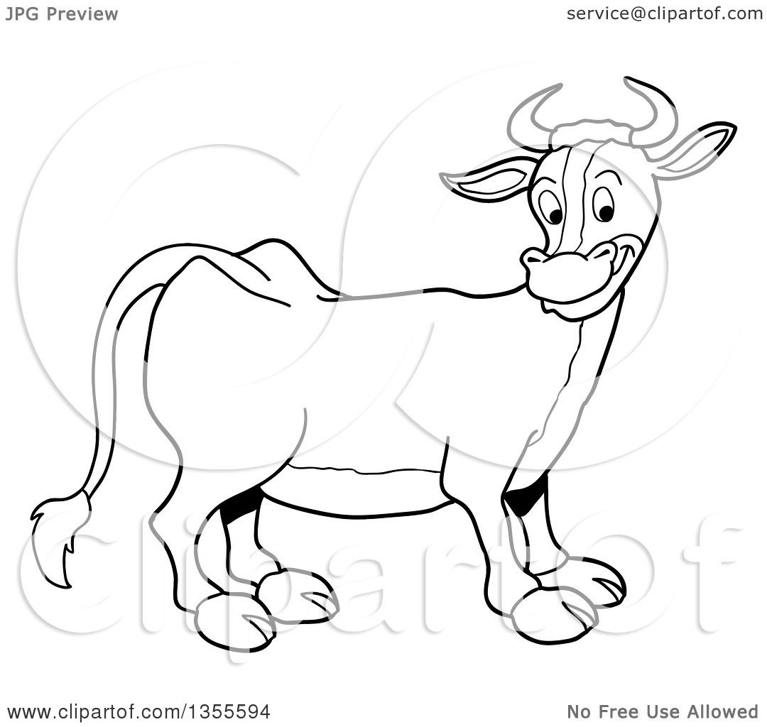 1080x1024 Outline Clipart Of A Cartoon Black And White Happy Cow