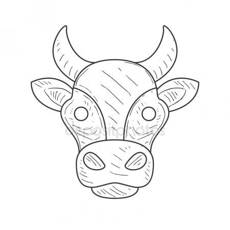 450x450 Pencil Sketch With Isolated Cows Head In Black And White Color