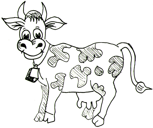 500x418 How To Draw Cartoon Cows Farm Animals Step By Step Drawing