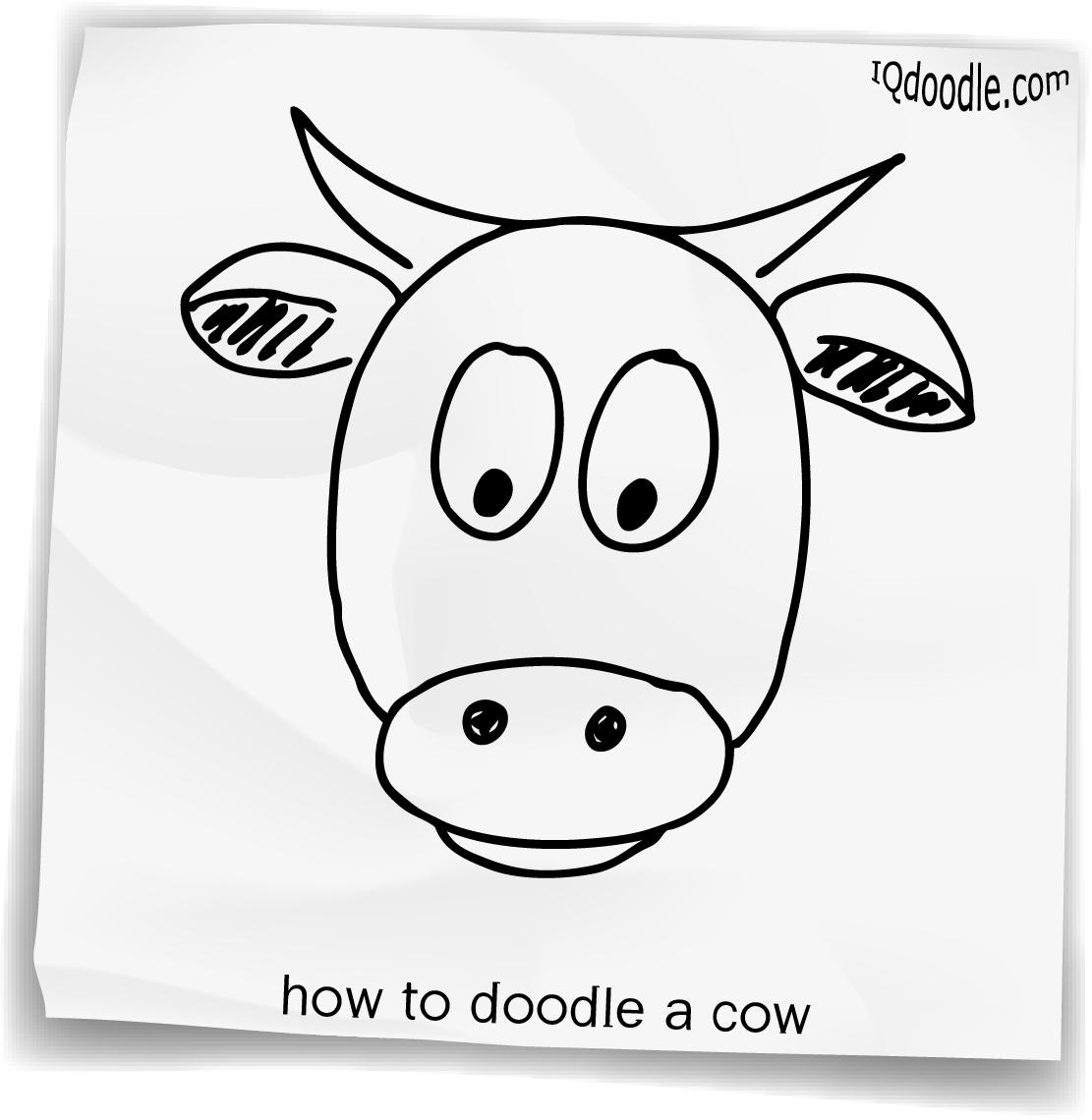 1111x1140 Drawn Cow Doodle