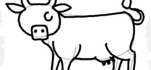 300x140 How To Draw A Simple Cow (Vaca) Drawing Amp Illustration