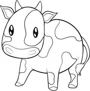 300x302 How To Draw An Easy Cow Drawing Cow, Easy And Draw