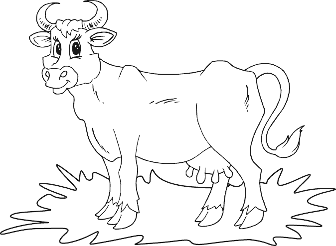 674x494 Simple Cow Coloring Page