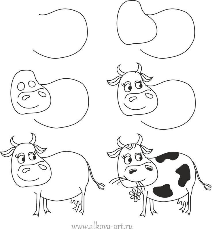 736x798 How To Draw A Cartoon Cow