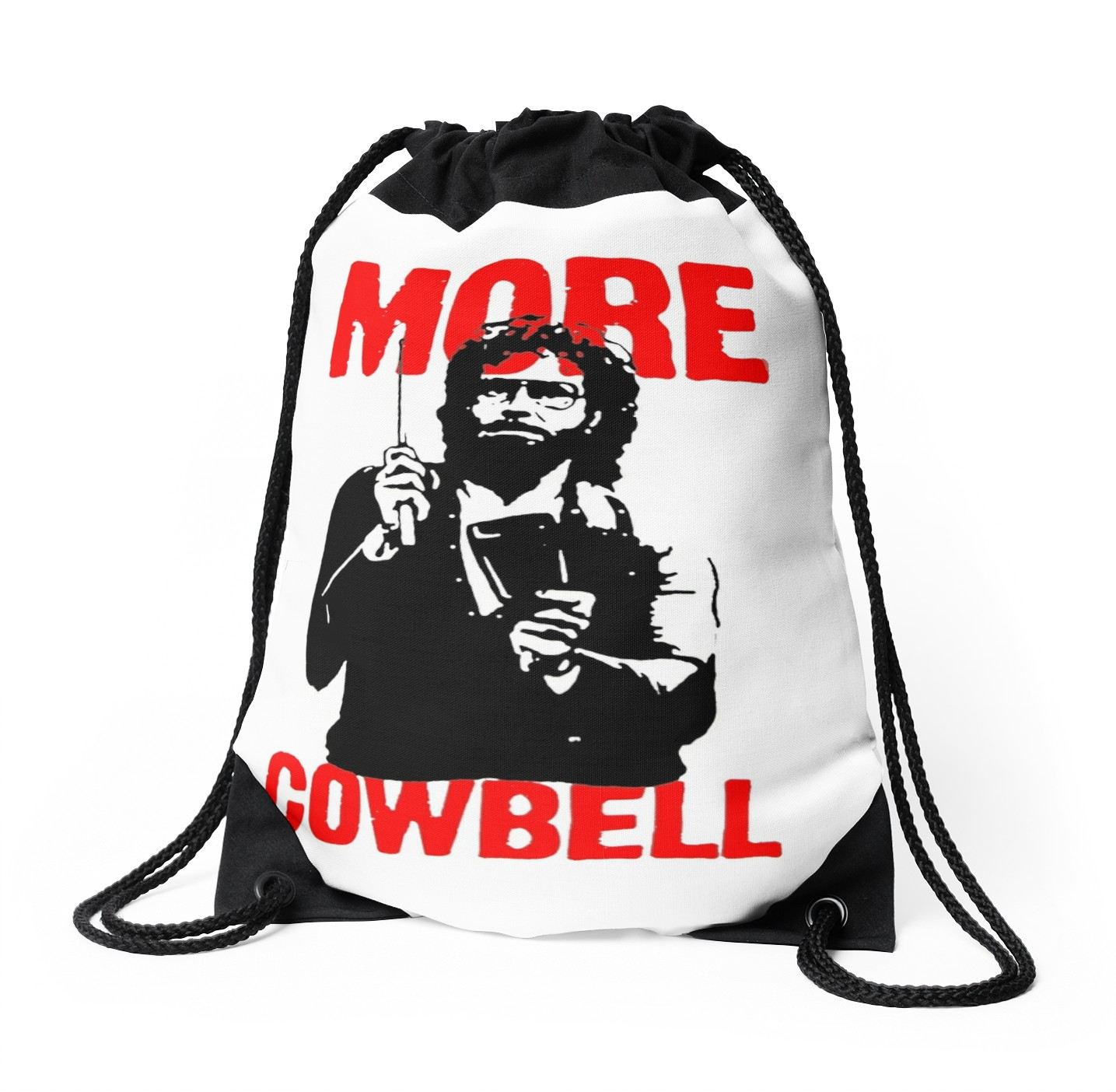 1435x1404 More Cowbell T Shirt Drawstring Bags By Astropop Redbubble