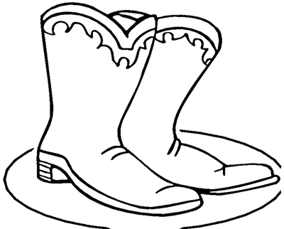 400x322 Easy Cowboy Pencil Coloring Boots Drawing Winter