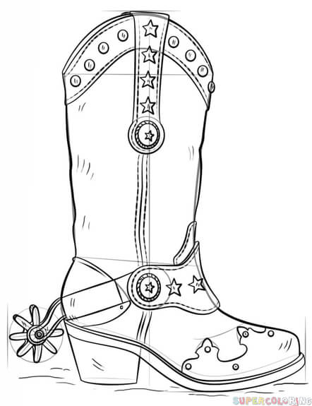 442x575 How To Draw A Cowboy Boot Step By Step Drawing Tutorials