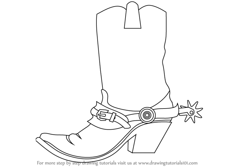 800x563 Learn How To Draw Cowboy Boots (Cowboys) Step By Step Drawing