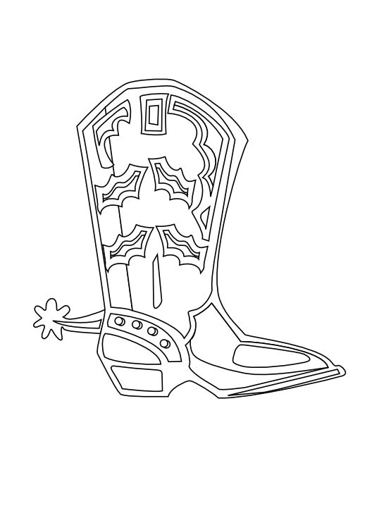 555x718 Cowboy Boots Black And White Line Art Coloring Page