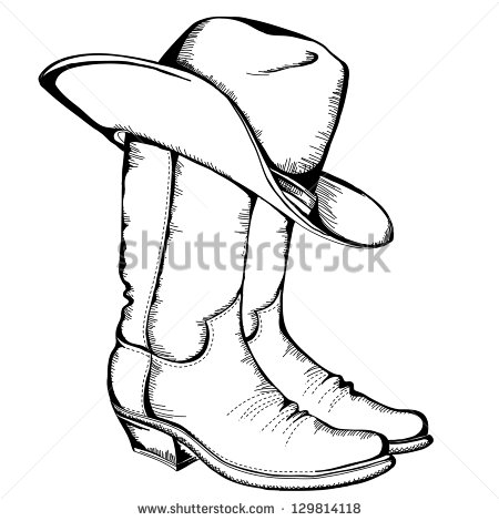450x470 Drawing Of Cowboy Boots Line Drawing Of Cowboy Boots