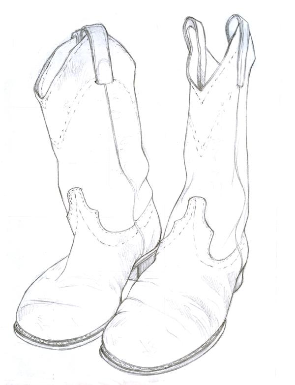 600x783 Drawn Boots Cowboyboot