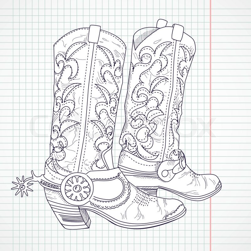 800x800 Hand Drawn Sketch Of A Cowboy Boots Stock Vector Colourbox